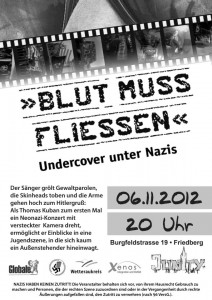 """Read more about the article 06.11 in Friedberg – """"Blut muss fließen – Undercover unter Nazis"""""""