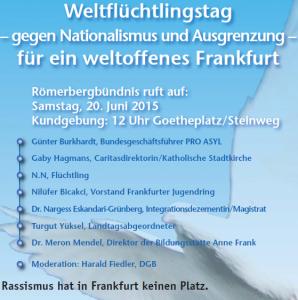 20.06 Frankfurt: Kein Raum für Neonazis – Weltflüchtlingstag gegen Nationalismus und Ausgrenzung