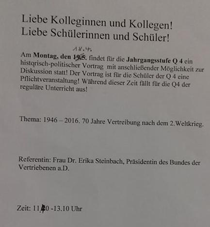 Abgesagt: Vortrag mit Dr. Erika Steinbach