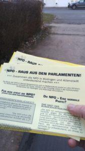 Mitmach-Flyer-Aktion -Die NPD Geschichte werden lassen